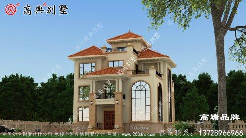 农村简欧复式三层别墅设计外观效果图