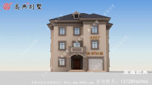 临湘市农村带露台三层别墅图,外观简洁漂亮,